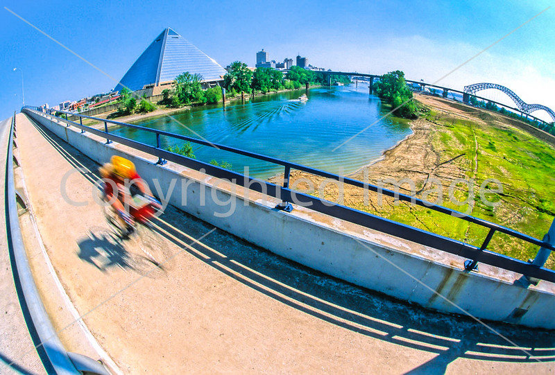 Cyclist over Mud Island to downtown Memphis, Tennessee - 1 - 72 ppi-2