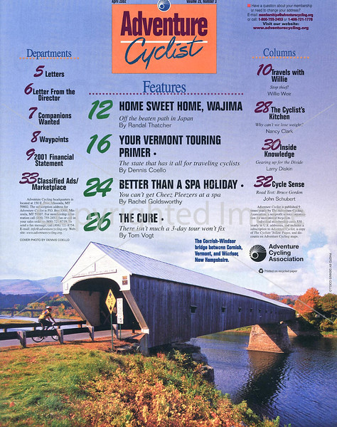 Adventure Cyclist - Vermont - Table of Contents Page