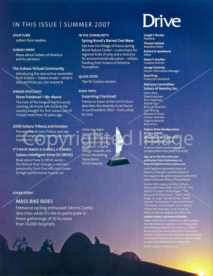 Subaru's Drive Magazine - Mass Bike Rides - Table of Contents