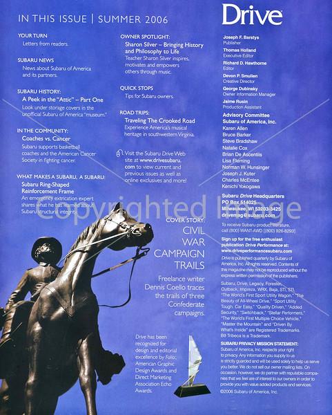 Subaru's Drive Magazine - Civil War Campaign Trails - Inside cover/Table of Contents