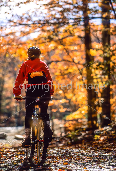 Biker in New Hampshire's White Mountain National Forest, on trail road off Kancamagus Hwy - 9 - 72 ppi