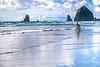 Lewis & Clark - Cyclist at Cannon Beach on Oregon coast - 11 - 72 ppi