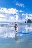 Lewis & Clark - Cyclist at Cannon Beach on Oregon coast - 15 - 72 ppi