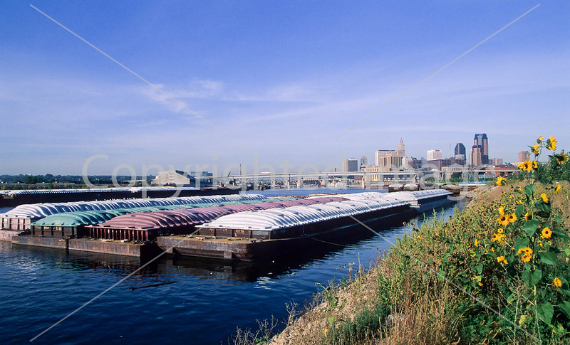 Barges on Mississippi  River; St  Paul, MN, in background - 1 - 72 ppi