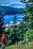 Biker in San Juan Islands near Seattle, heading to Roche Harbor - 4-2 - 72 ppi