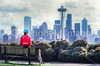 Cyclist at Kerry Park on Queen Anne Hill in Seattle -2 - 72 ppi