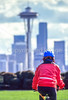 Cyclist at Kerry Park on Queen Anne Hill in Seattle -5 - 72 ppi