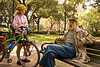 Confederate cap-wearing gentleman in Savannah, Georgia, square - giving cyclist some of his amazing knowledge of Civil War history - 8 - 72 dpi