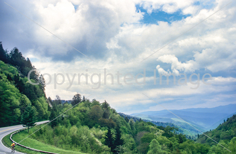 Touring cyclist in Great Smoky Mountains National Park, nearing Newfound Gap - 7 - 72 ppi