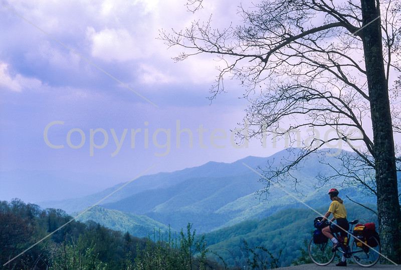 Touring cyclist in Great Smoky Mountains National Park, nearing Newfound Gap - 2 - 72 ppi