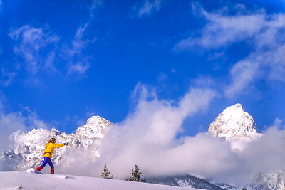 Cross-country skier before Teton Mountain Range near Jackson, Wyoming - 3 - 72 ppi