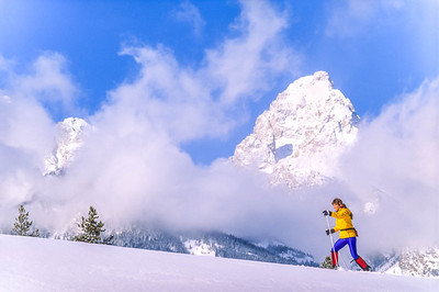 Cross-country skier before Teton Mountain Range near Jackson, Wyoming - 5 - 72 ppi