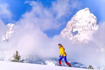 Cross-country skier before Teton Mountain Range near Jackson, Wyoming - 4 - 72 ppi