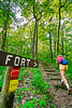 Hiker on way to 1864 battleground at Fort Pillow State Historic Area in Tennessee - 300 dpi - C2 -  -0242