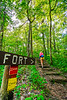 Hiker on way to 1864 battleground at Fort Pillow State Historic Area in Tennessee - 300 dpi - C2 -  -0247