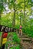 Hiker on way to 1864 battleground at Fort Pillow State Historic Area in Tennessee - 300 dpi - C2 -  -0246