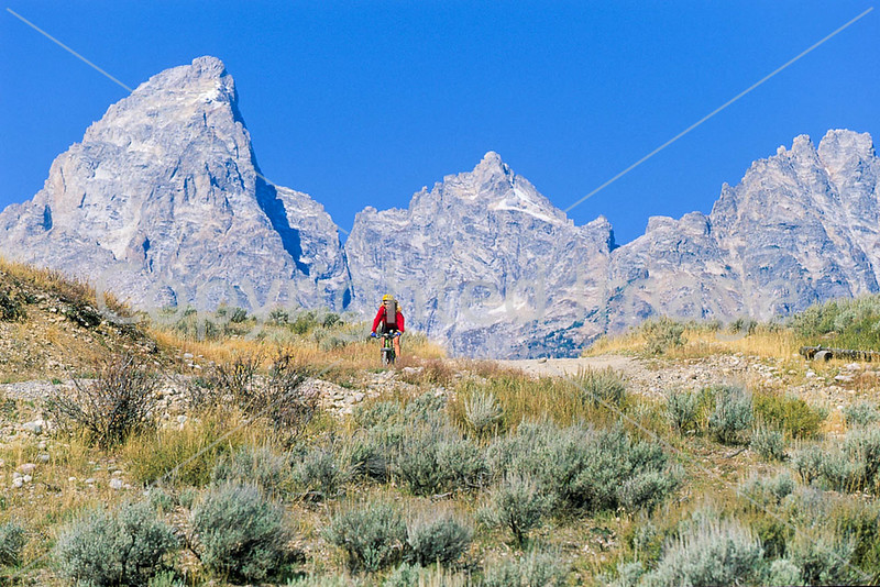 Mountain biker on south end of River Road along Snake River in Wyoming's Grand Teton NP - 14 - 72 ppi