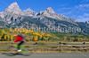 Mountain biker along Teton Park Road in Grand Teton Nat'l Park - 7 - 72 ppi