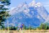 Thin-tire cyclist on Teton Park Road in Grand Tetons Nat'l Park - 4 - 72 ppi