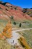 Mountain biker on Gros Ventre Road in Teton Nat'l Forest just east of Grand Teton Nat'l Park - 29 - 72 ppi