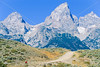 Mountain biker on south end of River Road along Snake River in Wyoming's Grand Teton NP - 12 - 72 ppi