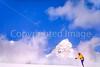 Skier before Teton Mountain Range near Jackson, Wyoming - 2 - 72 ppi