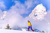 Cross-country skier before Teton Mountain Range near Jackson, Wyoming - 4 - 72 ppi