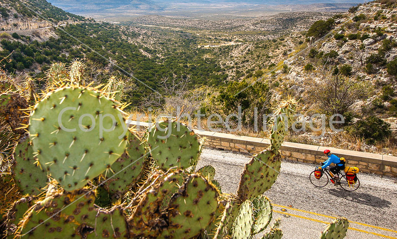 Texas - Cyclist on TX 290 overlooking Fort Lancaster State Historic Site -  C8e-'08-3034 - 72 ppi
