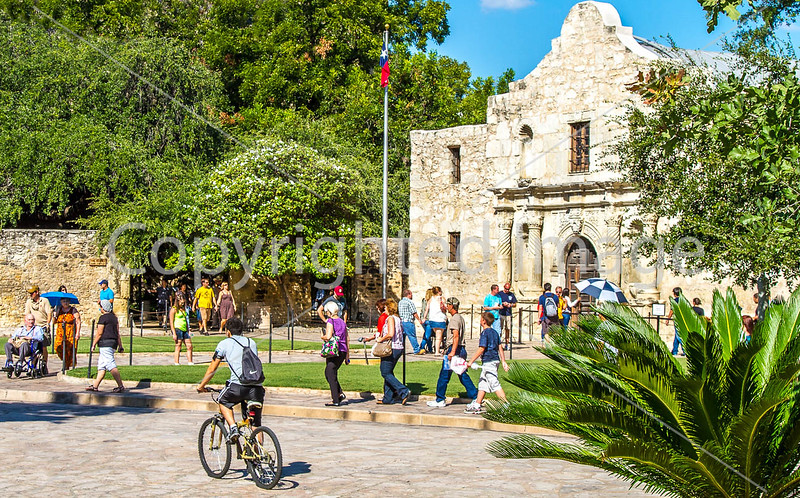 Cyclist at the Alamo, in downtown San Antonio, Texas - C3-0002 - 72 ppi
