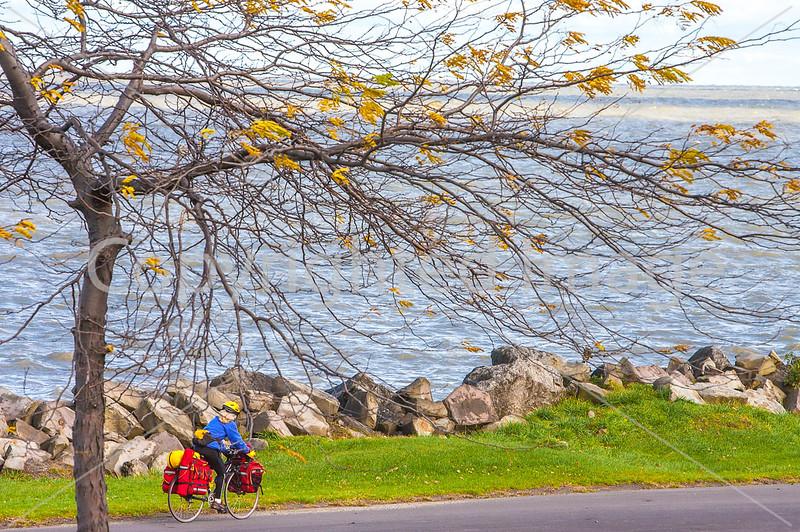 Touring cyclist along Lake Erie near Ashtabula, OH-0212 - 72 ppi