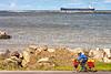 Touring cyclist along Lake Erie near Ashtabula, OH-0309 - 72 ppi