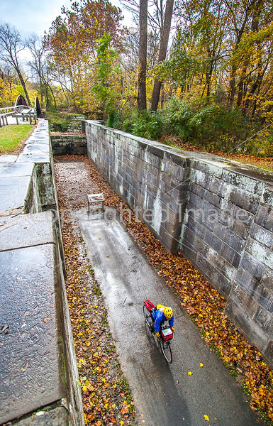 Biker at canal lock in Cuyahoga Valley Nat'l Park, Ohio - -0050 - 72 ppi