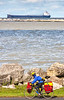 Touring cyclist along Lake Erie near Ashtabula, OH-0300 - 72 ppi