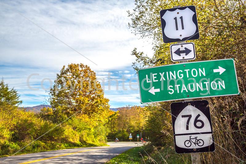 Tourers on Bike Route 76 & TransAm near Cyrus McCormick's Farm; Raphine, Virginia - C3- - 72 ppi
