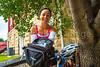 TransAmerica Trail cyclist at Al's Place Bicycle Hostel in Farmington, Missouri - C3-0003 - 72 ppi