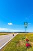 TransAm rider on US 76 Bike Route--TransAmerica Trail near St  Mary's, Missouri - C2- - 72 ppi