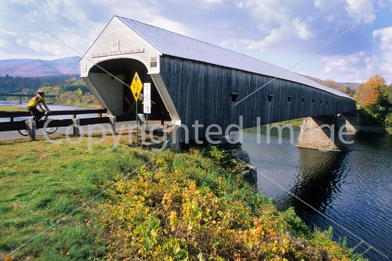 Vermont & New Hampshire - Biker at Cornish-Windsor Bridge on Connecticut River - 10 - 72 ppi