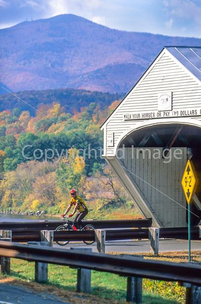 Vermont & New Hampshire - Biker at Cornish-Windsor Bridge on Connecticut River - 9 - 72 ppi