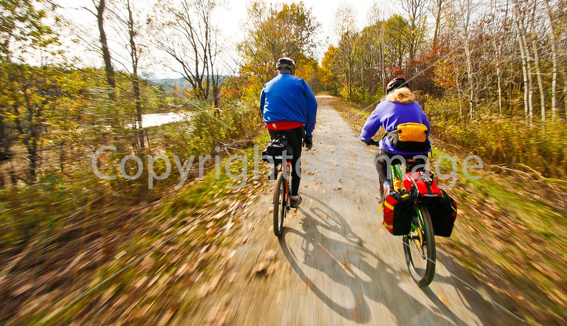 Cyclist(s) on Vermont's Missisquoi Valley Rail Trail - 2 -0318 - 72 ppi