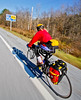 Biker nearing Frelighsburg, Canada, on ride from East Franklin, Vermont-C2--0063 - 72 ppi