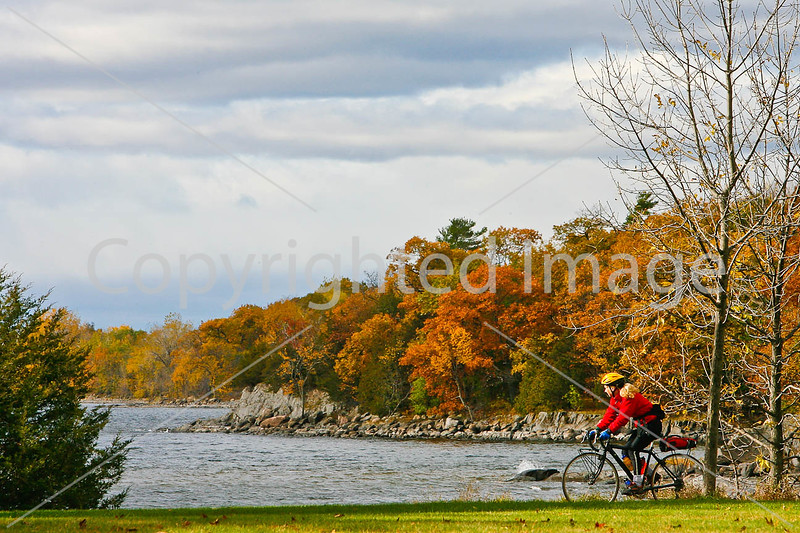 Cyclist at Kill Kare State Park on St  Albans Bay, Vermont-0161 - 72 ppi