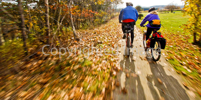 Cyclist(s) on Vermont's Missisquoi Valley Rail Trail - 2 -0304 - 72 ppi-2