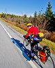 Biker nearing Frelighsburg, Canada, on ride from East Franklin, Vermont-C2--0071 - 72 ppi-2