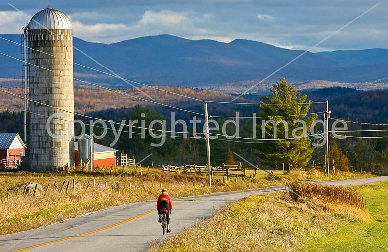Biker on Confederate bank robbers' trail north of Enosburg Falls, VT-0416 - 72 ppi