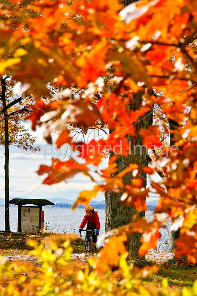 Cyclist at Kill Kare State Park on St  Albans Bay, Vermont  - C1 - -0110 - 72 ppi