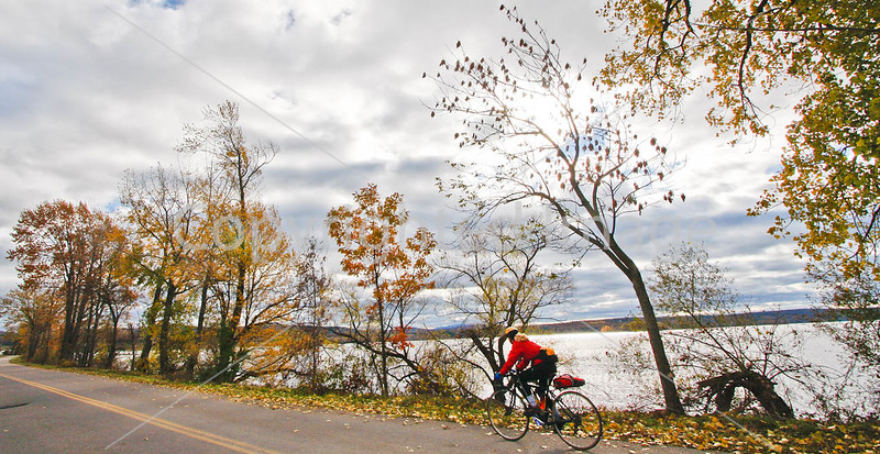 Cyclist at St  Albans Bay State Park, Vermont-C2--0074 - 72 ppi
