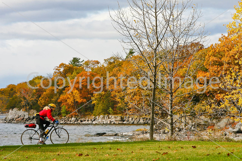 Cyclist at Kill Kare State Park on St  Albans Bay, Vermont-0153 - 72 ppi