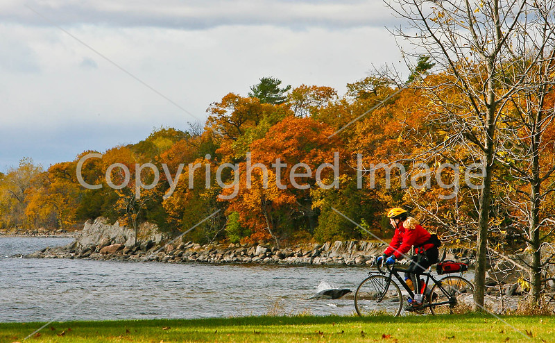Cyclist at Kill Kare State Park on St  Albans Bay, Vermont   - C1 - -0161 - 72 ppi