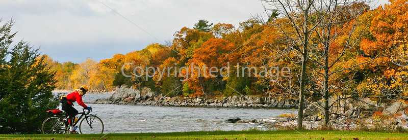 Cyclist at Kill Kare State Park on St  Albans Bay, Vermont  - C1 - -0168 - 72 ppi