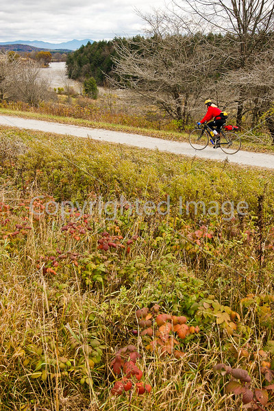 Cyclist on Missisquoi Valley Rail Trail west of Enosburg Falls, Vermont-C2--0244 - 72 ppi